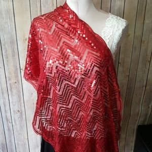 red sequin scarf wrap NWOT